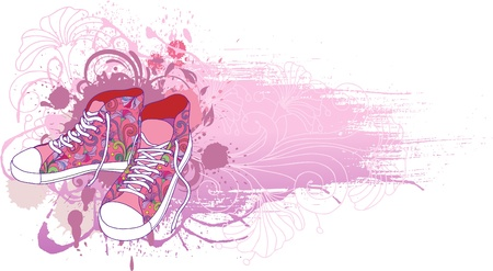 Abstract background with sneakers  and flowers. Vector