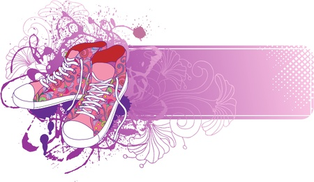 Abstract background with sneakers  and flowers. Illustration