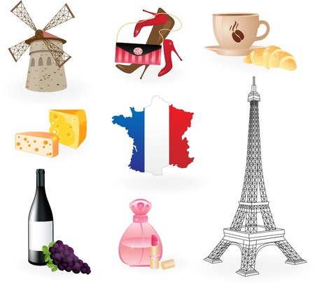 french style: Collection  icons of symbols of France.