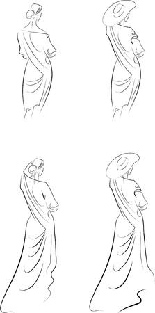 Silueta de la mujer.  Ilustración de vector