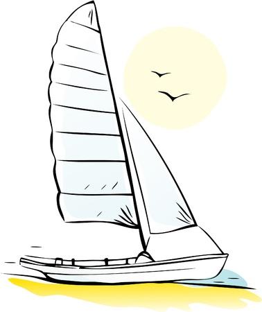 deportes nauticos: Barco de vela en la costa. Vectores