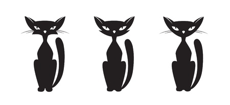 Silhouette of a black cat. Vector