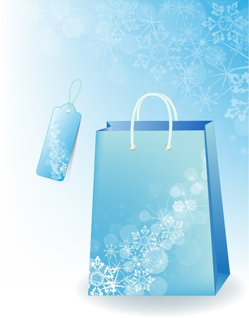 Shopping bag decorated with snowflakes. Vector