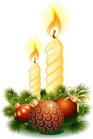 fir cone: Bolas de Navidad y una vela. Vectores