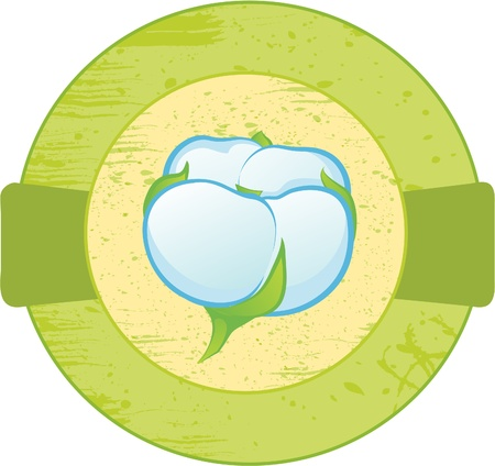 plant gossypium: Round banner with the cotton. Illustration