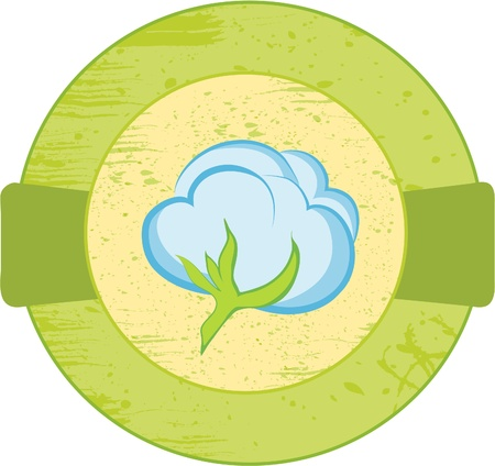 Round banner with the cotton. Vector