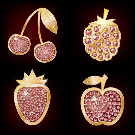 Iconen van fruit versierd met diamanten