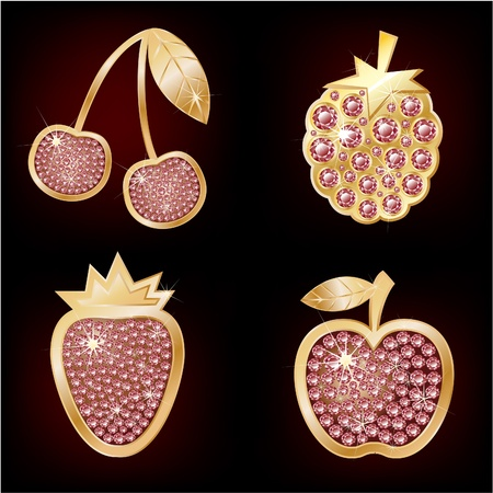 Icons of fruit decorated with diamonds  Vector