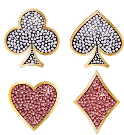 solitaire: Set of shiny card suit