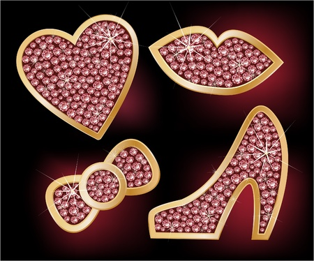 Icons a heart, lips, a bow, the shoes, decorated with diamonds  Vector