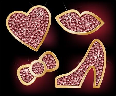 caras emociones: Los iconos de corazón, los labios, un arco, los zapatos, decorada con diamantes Vectores