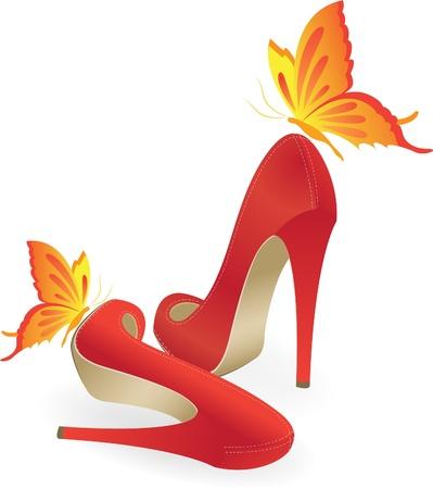 tacones negros: Zapatos rojos de tacón alto Vectores