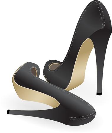 tacones negros: un par de zapatos