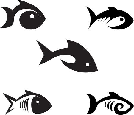 白い背景の上の様式化された魚のさまざまなオプション  イラスト・ベクター素材