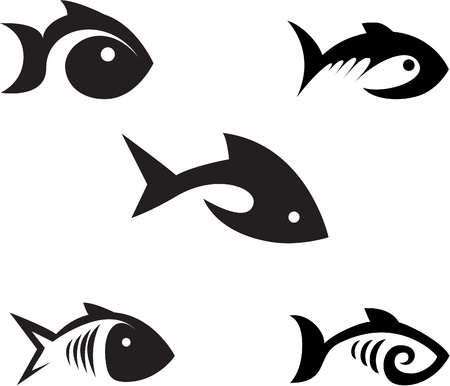 Different options of the stylized fishes on a white background