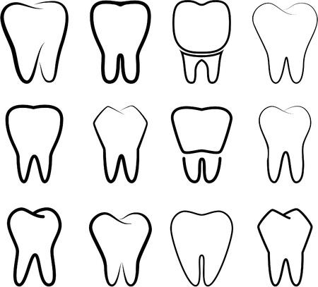 白い背景の上安定した歯のセットします。
