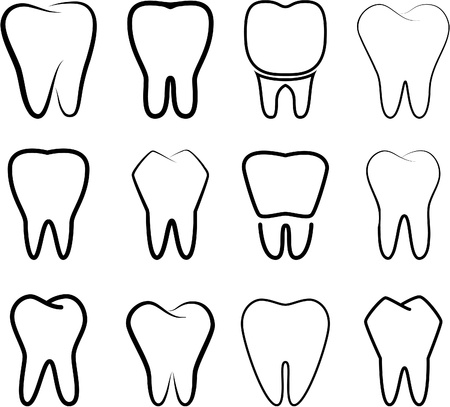 Reeks de gestabiliseerde tanden op een witte achtergrond.