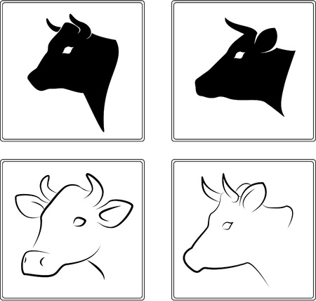 cow silhouette: Cow.  Illustration
