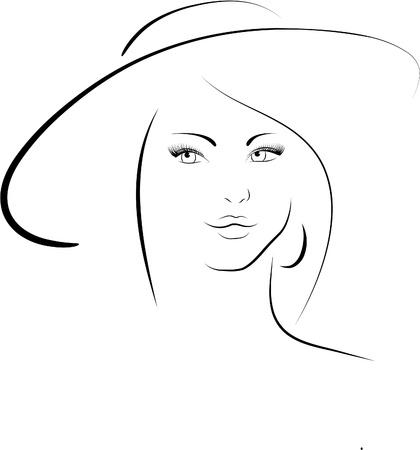 De vrouw in een hoed Stock Illustratie