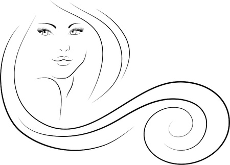 long-haired woman Stock Vector - 13304686