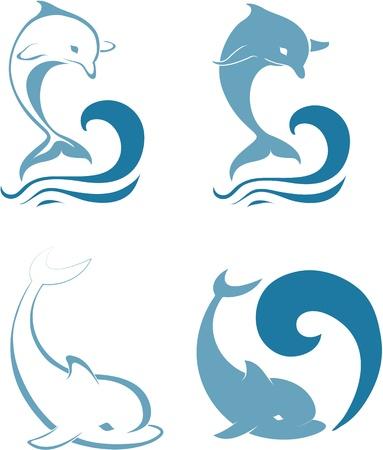 Siluetas de los delfines Ilustración de vector