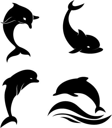 aletas: Siluetas de los delfines