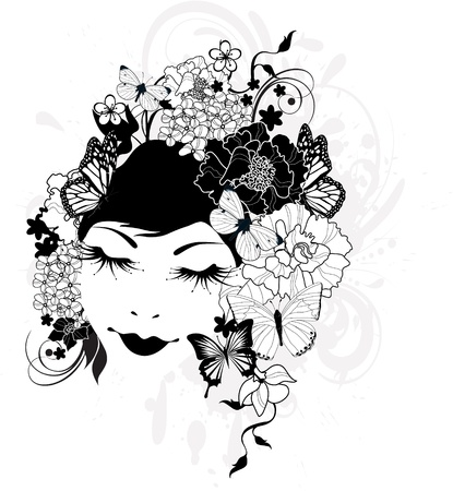 The beautiful girl with flowers in hair Stock Vector - 13688632