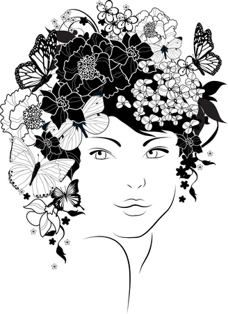 black and white line drawing: The beautiful girl with flowers in hair