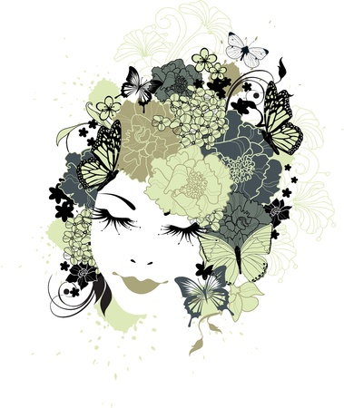 painted lines: The beautiful girl with flowers in hair