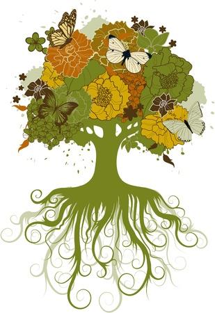 De abstracte boom versierd met bloemen en vlinders Stock Illustratie