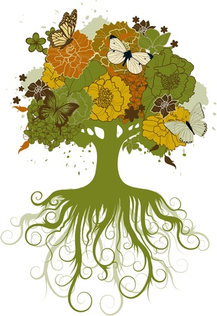 The abstract tree decorated with flowers and butterflies Vector