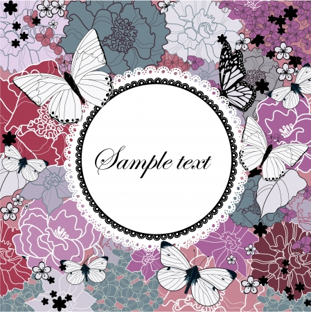flower background with a lacy frame Stock Vector - 13838255