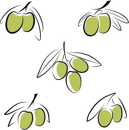 Stylized olives isolated on a white background. Stock Vector - 13925014