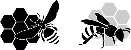 miel de abeja: abeja negro silueta aislados sobre fondo blanco Vectores
