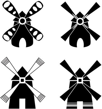 Sterke windmolen. Stock Illustratie