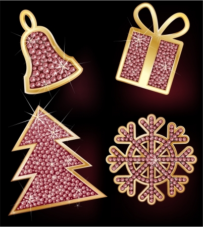 brilliants: Christmas fir-tree, hand bell, gift, the snowflake decorated with brilliants