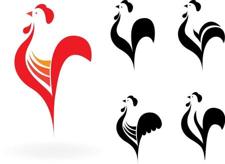 cockerel: galline stilizzati su sfondo bianco