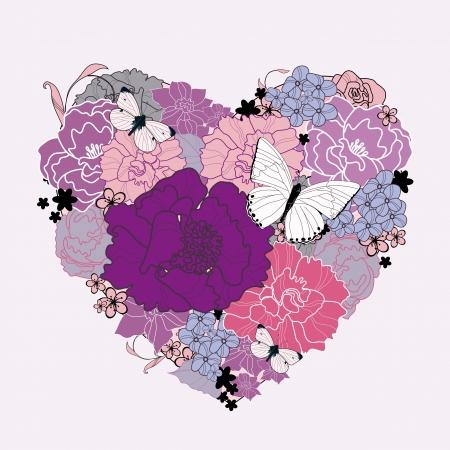 pfingstrosen: Herz der Blumen Hand gezeichnet Lizenzfreie Bilder