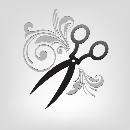 scissors cutting paper: scissors  stylization  design element for illustration Illustration