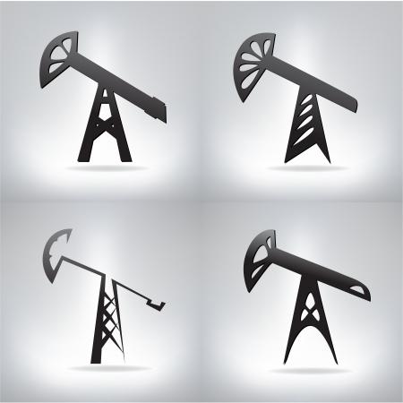 oilwell: Silhouette of oil pump ,  illustration Illustration