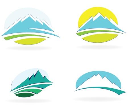 neve montagne: icona di montagna, illustrazione Vettoriali