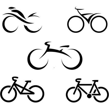 powered: set of icons with stylized bikes, illustration Illustration