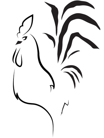 cockscomb: stylized cock on the white background Illustration