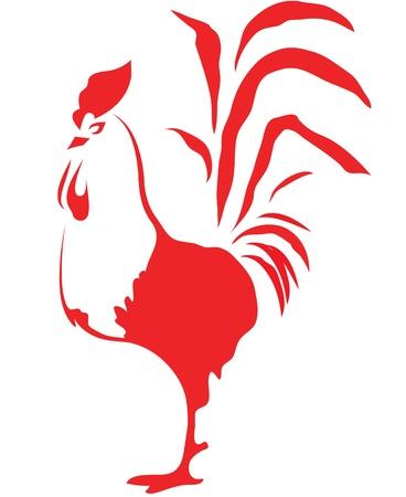 animal cock: stilizzato gallo rosso su sfondo bianco