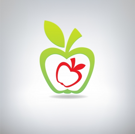 ripened: Green and red apple on a grey background  A illustration