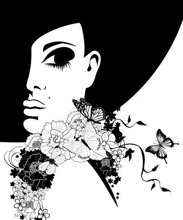 silhouet van een vrouw in een zwarte hoed met bloemen en vlinders, illustratie Stock Illustratie