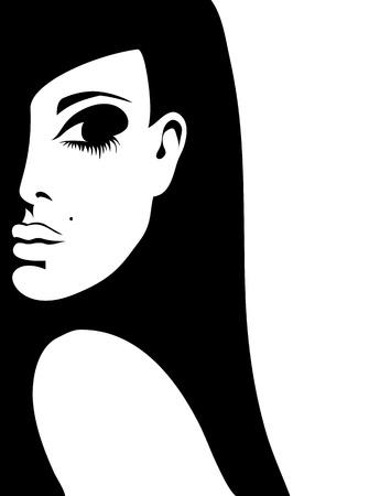 silhouette di una donna su uno sfondo bianco, illustrazione
