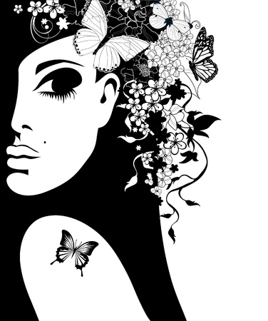 glam: silhouette of a woman with flowers and butterflies, illustration
