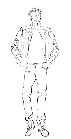 male mannequin: fashionable man, black and white sketch