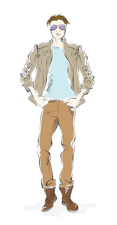 fashionable man, sketch on a white background Vector